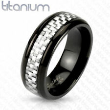 """Titan mens ladies Ring Silver """"Silver Carbon Fiber Inlay jewellery by ALLFORYOU"""