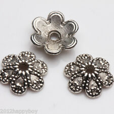 50/100PCS Tibetan Silver Hollow Out Flower Shape Bead Caps 9x3mm End Caps
