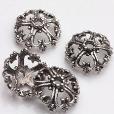 15/30PCS Hollow Out Flower Shape  Tibetan Silve Floral Bead Caps End Caps 12x6mm