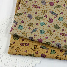 "By The Yard 44""*36"" Cotton-Blend Fabric 2 Colors CAT FISH Sewing Quilting Craft"