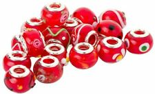 5 - 100pcs RED WHOLESALE CHARMS SILVER 925 BEADS BRACELETS Murano Lampwork Glass
