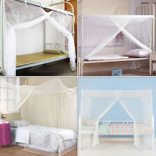 New White Four Corner Post Bed Canopy-Mosquito Net Twin Queen King Size Netting