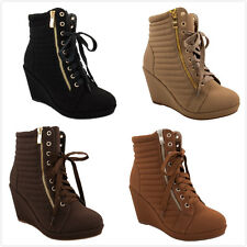 Brand NEW Women's Fashion Lace Up High Top Ankle Wedge Heels Sneaker Booties