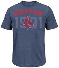 Boston Red Sox Majestic 3 Base Hit Mens Navy Heather Shirt Big & Tall Sizes
