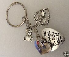 Charm necklace European Clipon Keyring  pink heart Mum memorial loss E255