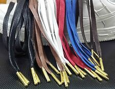 FREE SHIPPING PREMIUM Flat Waxed Shoe Laces GOLD Aglets For Yeezy Kith Jordan