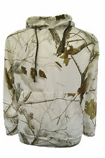 MENS NEW REALTREE SNOW CAMO CAMOUFLAGE FISHING HUNTING HOODIE TOP S-XL WHITE