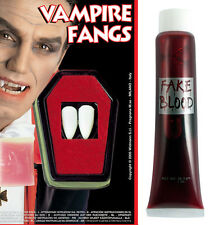 Fake Blood Vampire Teeth Fangs Dracula Halloween Fake Fancy Dress Party