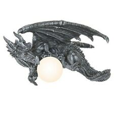 Gothic Elder Dragon Head Mounted Wall Lamp Home Decorative Stonelike Statue