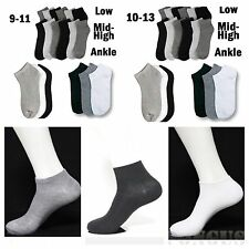 Mens Women's Crew Ankle Soft Socks Low Cut White Black Gray 9-11 10-13 Unisex