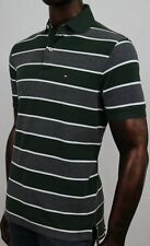 Tommy Hilfiger Green, Gray And White Stripe Polo   ~ NWT ~