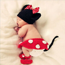 4pcs Crochet Newborn Baby Costume Infant Knit Minnie Mouse Outfits Photo Props