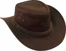 UNICORN Real Leather Australian Aussie Bush Cowboy Sun Hat Brown :S to XXL: #8H