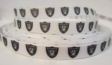 "GROSGRAIN OAKLAND RAIDERS FOOTBALL 3/8"" INCH RIBBON 1, 3, 5 YARDS*SHIPS FREE*USA"