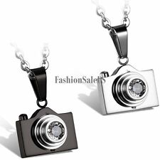 Stainless Steel Rhinestone Camera Pendant Men's Women's Charm Necklace w O Chain