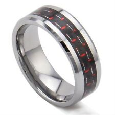 8mm Tungsten Ring Red & Black Carbon Fiber Inlay Men's Wedding Engagement Band