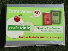 50 x A6 Card Blanks and Envelopes, Red & Green or Metallics,Pre Scored