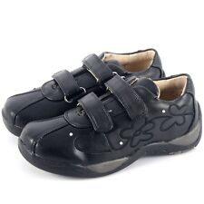 REAL LEATHER BLACK SCHOOL TRAINERS GIRLS CHEAP SHOES VELCRO STRAPS UK SIZE