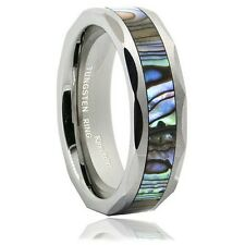 6mm Silver Tungsten Metal Ring Unisex Wedding Band Abalone Shell Inlay Faceted