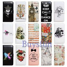 Bcov Skull Owl Flower Butterfly Leather Wallet Cover Case For Samsung Galaxy