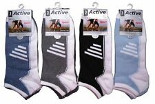 6 PAIRS OF MENS NEON STRIPED ACTIVE TRAINER LINER SOCKS SPORT LEISURE
