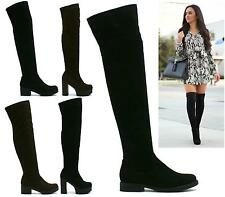 WOMENS ZIP MID BLOCK CHUNKY HEEL PLATFORM OVER THE KNEE STRETCH BOOTS SIZE