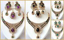 Indian Kundan Bollywood Style Designer Ethnic WeddingWear Gold Tone Necklace Set