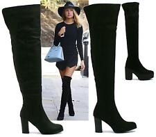 WOMENS ZIP MID BLOCK HEEL PLATFORM OVER THE KNEE STRETCH BOOTS SIZE