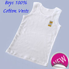 Six pack of Boys White pure cotton Vests Underwear Top Singlet