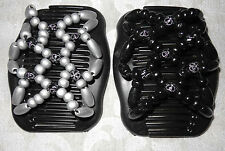 Magic Stretch Wooden Beads Innerlocking Double Hair Clip in Black & Silver NEW