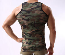 New Arrival Mens Army Camo Camouflage Muscle Gym Sleeveless Shirt Tank Top Vest