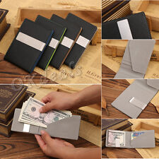 Luxury Men's Leather Wallet Slim Stainless Money Clip Credit Card Holder ID Hot
