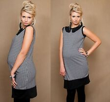 BLACK HOUNDSTOOTH SLEEVELESS ELEGANT PREGNANCY TUNIC DRESS PERFECT WITH LEGGINGS