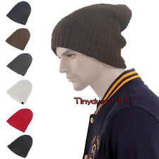 Winter Loose Slouchy Fleece Lined Knit Beanie Cuff Thick Warm Skull Hat Ski Cap