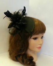 Vintage 1940s-50s Fascinator hat HALLOWEEN Black Ivory Teardrop hat  fascinator