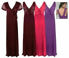 LADIES SATIN LONG CHEMISE NIGHT DRESS NIGHTDRESS NIGHTIE SLIP ROBE GOWN 8-16