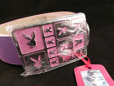 Playboy Shimmering Pink Belt with Silver and Pink Enamelled Bunny Logo Buckle