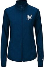 Milwaukee Brewers Majestic Womens Her Score Track Jacket Navy Blue Plus Sizes
