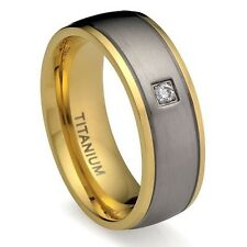 8MM Men's Titanium Ring Wedding Band 18K Gold-Plated with Simulated  CZ