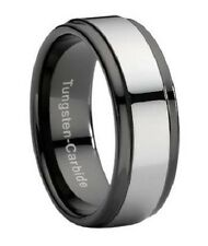 Men's Two Tone 9mm Comfort Fit Black Tungsten Wedding Ring with Gunmetal Center