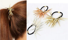 HOT Cool Punk Rock Style Spike Rivet Elastic Hair Rope Band Ties Ponytail Holder