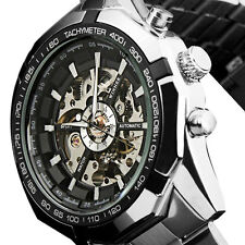 Automatic Watch Mens Watch Black White Stainless Steel Mans Wrist Watch Gift Hot