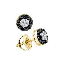 10k Solid Gold Micropave 0.33 Ctw Black Diamond Cluster Floral Stud Earrings