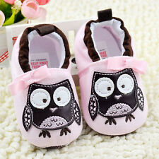 Toddler Baby Girl Pink Owl Crib Shoes casual shoes Soft Sole Size 0-18 Months
