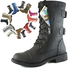 Women's Lace-Up Ankle Military Combat Round Toe Booties with Credit Card Pocket