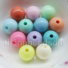5-100Pcs Fluorescent Round Ball Beads Acrylic Spacer Finding Beads Charms 6-30MM