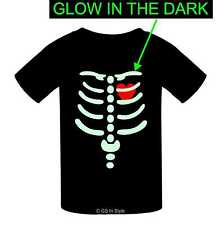 GLOW IN THE DARK KIDS HALLOWEEN T-SHIRT SPOOKY TOP SKELETON HEART CHILDREN