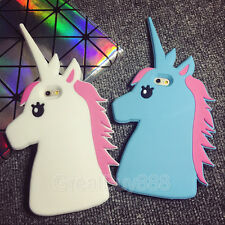 3D Cute Unicorn Cartoon Rubber Silicone Soft Case Cover for iPhone 6 6S Samsung