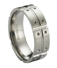 Men's 8mm Contemporary Flat Profile Titanium Ring with Satin Finish and Pol 190
