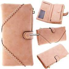 Fashion Womens Synthetic Leather Button Clutch Wallet Purse Casual Long Handbag